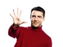 Caucasian man 5 five showing  fingers Royalty Free Stock Image