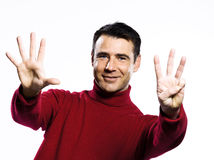 Caucasian man 8 eight showing  fingers Royalty Free Stock Image