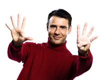Caucasian man 9 nine showing  fingers Stock Photos