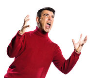 Caucasian man anger gesture Stock Photography