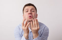 Caucasian man asking for something Royalty Free Stock Photography