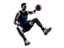 Caucasian man basketball player jumping silhouette Stock Photos