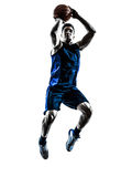 Caucasian man basketball player jumping throwing silhouette Royalty Free Stock Photography