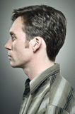 Caucasian Man Blank Expression Profile Portrait Stock Image
