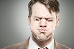 Caucasian Man Blowing Cheeks Expression Portrtait Stock Image