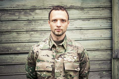 Caucasian man in camouflage uniform Stock Image