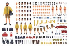 Caucasian man constructor or DIY kit. Collection of male character body parts, hand gestures, clothing isolated on white. Background. Front, side and back views stock illustration