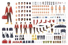 Caucasian man creation set or DIY kit. Collection of flat cartoon character body parts, facial gestures, hairstyles. Clothing  on white background. Vector Royalty Free Stock Image