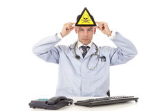 Caucasian man doctor danger sign Stock Photo