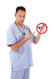 Caucasian man doctor no smoking Stock Photography
