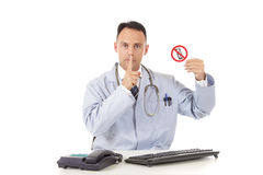Caucasian man doctor no telephone Royalty Free Stock Image