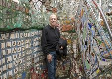 Caucasian man enjoying the Magic Gardens, creation of Isaiah Zagar, Philadelphia stock images