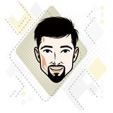 Caucasian man face expressing happiness, vector human head illus. Tration. Attractive bearded male with whiskers Royalty Free Stock Image