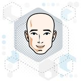 Caucasian man face expressing positive emotions, vector human he Royalty Free Stock Images