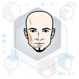 Caucasian man face, vector human head illustration. Attractive h. Airless male with beard, hipster Stock Photography
