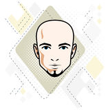 Caucasian man face, vector human head illustration. Attractive h. Airless male with beard, hipster Stock Photos