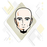 Caucasian man face, vector human head illustration. Attractive h. Airless male with beard, hipster Royalty Free Stock Photos