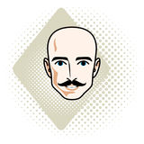 Caucasian man face, vector human head illustration. Attractive h. Airless male with whiskers, hipster Stock Photo