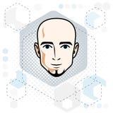 Caucasian man face, vector human head illustration. Attractive. Caucasian man face, vector human head illustration. Attractive hairless male with beard Stock Images
