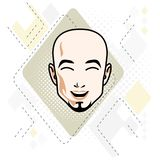 Caucasian man face, vector human head illustration. Attractive h. Airless male with beard, hipster Royalty Free Stock Photo