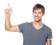 Caucasian man with finger up Stock Photography