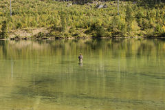 Caucasian Man Fly-Fishing In alpin lake, Austria. Stock Photo