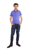 Caucasian man, full length. Full length portrait of a caucasian young man with hands in his pockets Royalty Free Stock Images