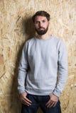 Caucasian man grey sweatshirt Stock Photo