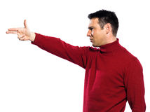 Caucasian man gun gesture Royalty Free Stock Photo