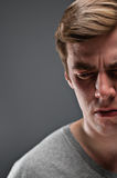 Caucasian Man Half Face Depression Portrtait Royalty Free Stock Photography