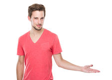 Caucasian man with hand presentation Stock Photography