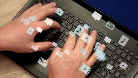 Man hands typing on laptop - communication cocept. Caucasian man hands rapidly typing on laptop keyboard. Lot of speech bubbles, image icons, sound and video stock footage