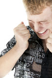 Caucasian man has blinked for pleasure Royalty Free Stock Photos