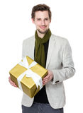 Caucasian man hold with giftbox Stock Images