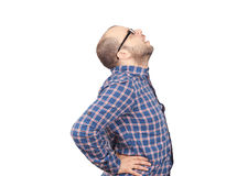 Caucasian man  with intense back pain Royalty Free Stock Images
