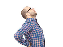 Caucasian man  with intense back pain Stock Image