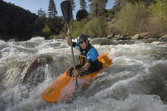 Caucasian Man Kayaking Royalty Free Stock Images