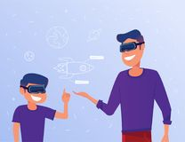 Caucasian man and kid in VR headsets studying a virtual rocket. Stock Photo
