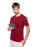 Caucasian man look at digital tablet Royalty Free Stock Photos
