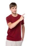 Caucasian man med fingret upp Royaltyfri Fotografi