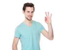Caucasian man with ok sign Royalty Free Stock Image
