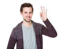Caucasian man with ok sign Stock Photography