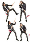 Caucasian man playing broom like guitar against. White background. This image has attached release Stock Photos