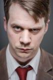 Caucasian Man Raised Eyebrow Portrtait Stock Image