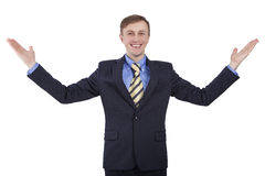 Caucasian man rejoices great opportunities. Stock Photos