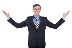 Caucasian man rejoices great opportunities. Stock Photos