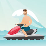 Caucasian man riding on a water scooter in the sea. During summer vacation. Young man sitting on a water scooter. Sport and leisure activity concept. Vector Royalty Free Stock Photo