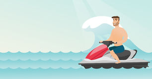 Caucasian man riding on a water scooter in the sea. During summer vacation. Young man sitting on a water scooter. Sport and leisure activity concept. Vector Royalty Free Stock Image