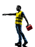 Caucasian man safety vest gasoline can  silhouette. One man out of gas walking with safety vest and gasoline can silhouette isolated in white background Stock Image