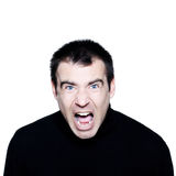 Caucasian man screaming angry displeased portrait Royalty Free Stock Images
